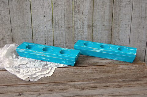 Turquoise wood candle holder