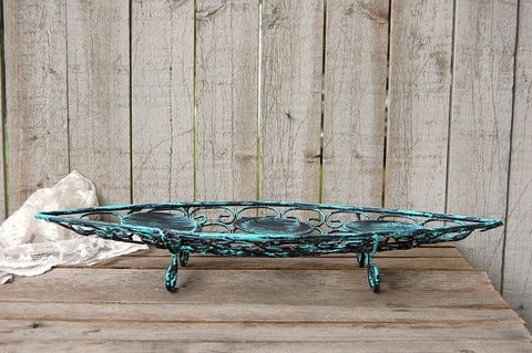 Aqua and black candle holder - The Vintage Artistry