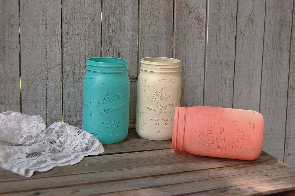 Aqua, coral and ivory mason jars - The Vintage Artistry