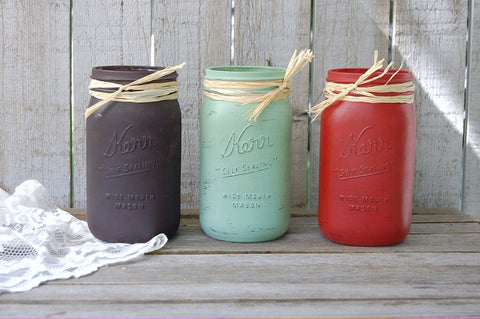 Painted rustic mason jars