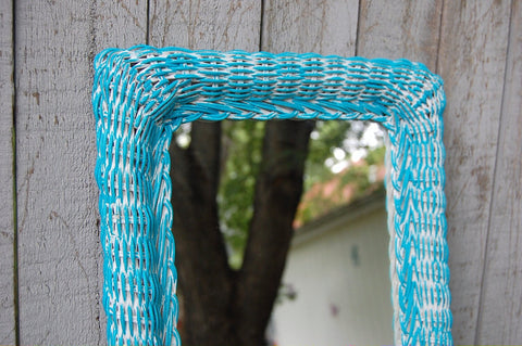 Shabby chic wicker mirror