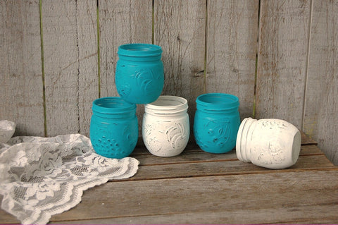 Turquoise and white jelly jars