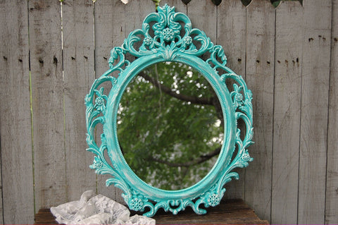 Ornate aqua mirror