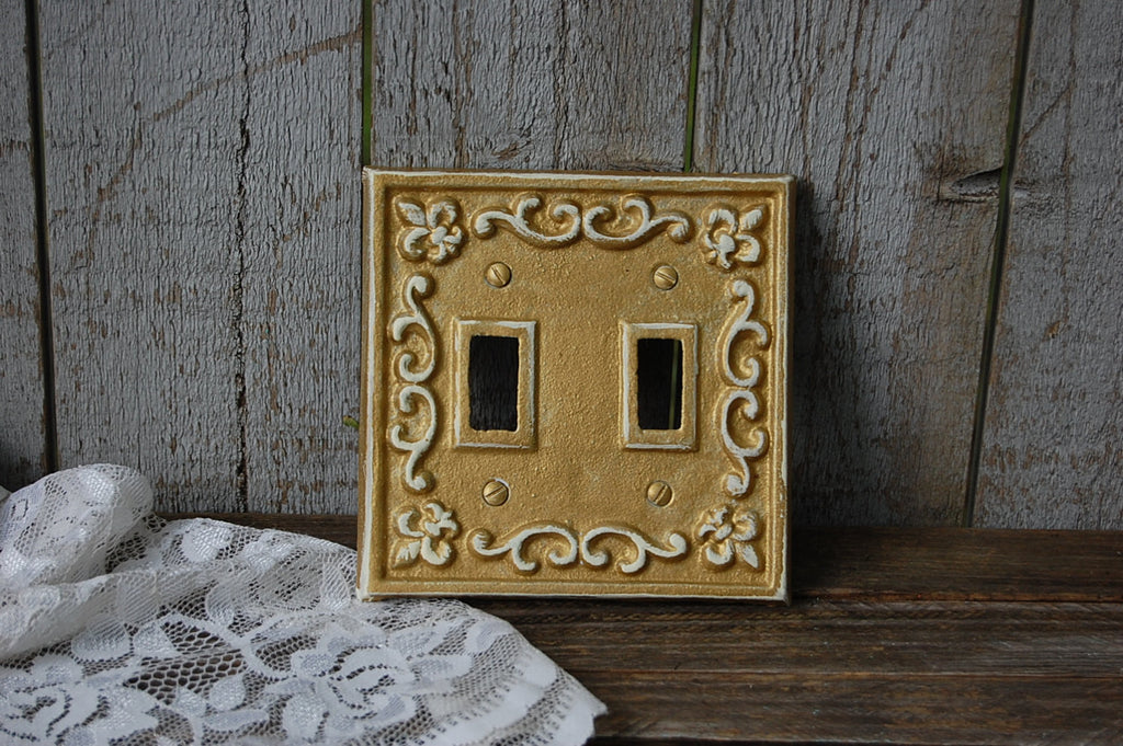 Gold double switch cover - The Vintage Artistry