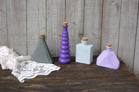 Purple geometric bottles