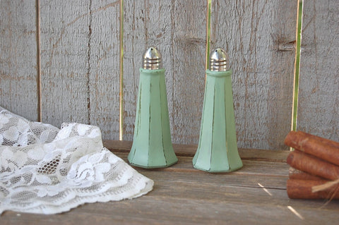 Sage green Eiffel tower shaker set
