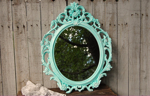 Mint shabby chic mirror