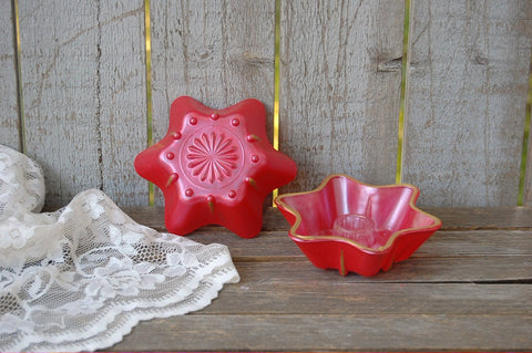 Red and gold glass candle holders
