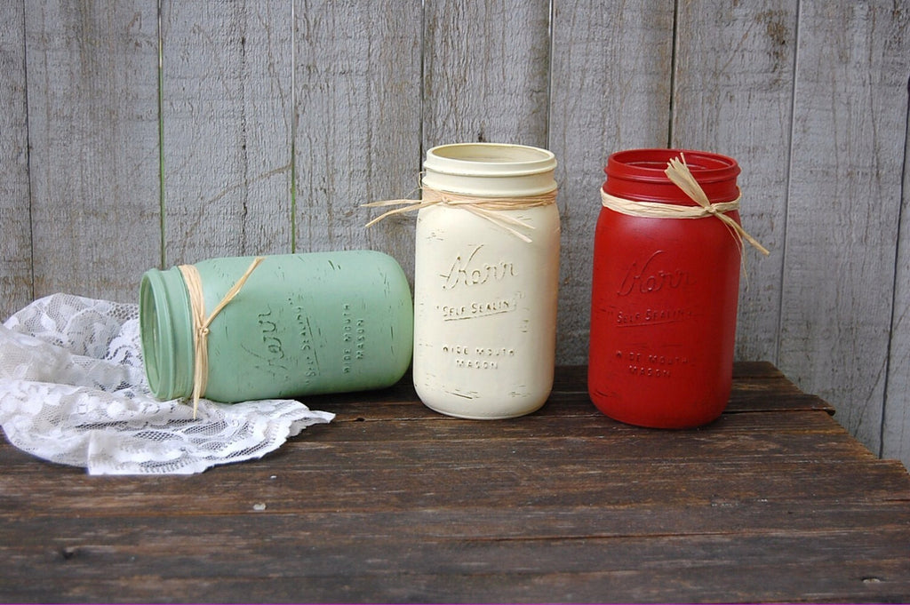 Hand painted mason jars - The Vintage Artistry