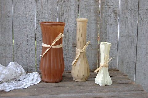 Shabby chic painted vases