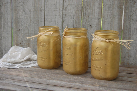Gold shabby chic mason jars