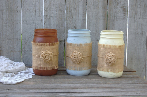 Painted mason jars with burlap