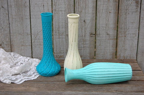 Shabby chic glass vases
