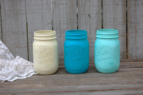 Painted mason jars - The Vintage Artistry