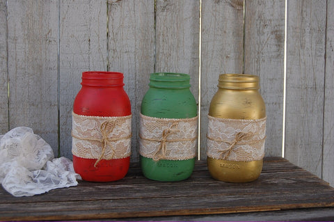 Rustic mason jars with burlap and lace