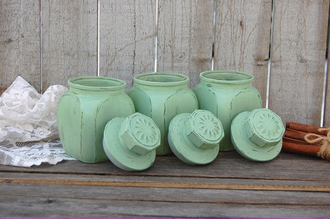 Shabby chic spice or tea jars