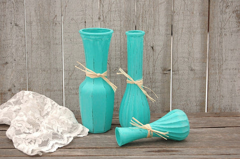 Aqua painted vases