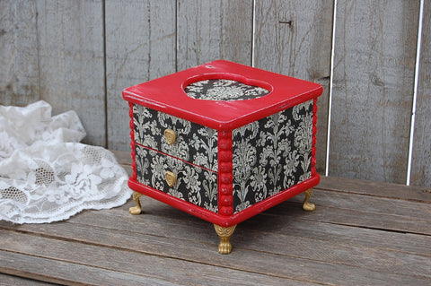 Red French provincial jewelry box