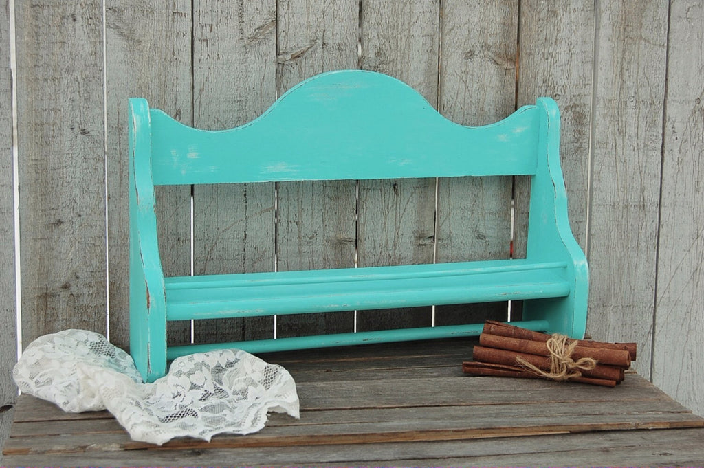 Aqua spice rack & towel bar