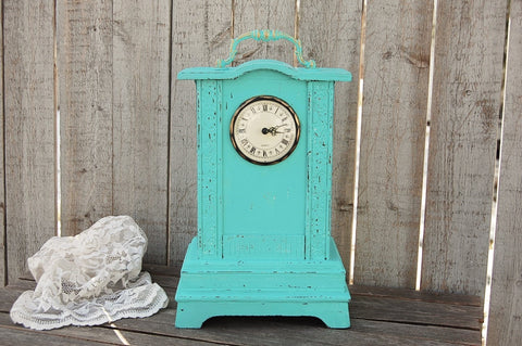 Aqua shabby chic clock - The Vintage Artistry