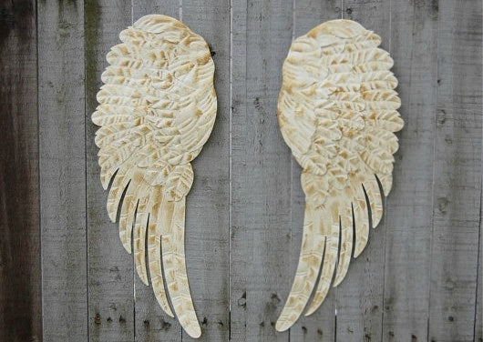 Ivory angel wings wall decor - The Vintage Artistry