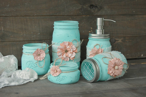 Mint & coral bathroom set
