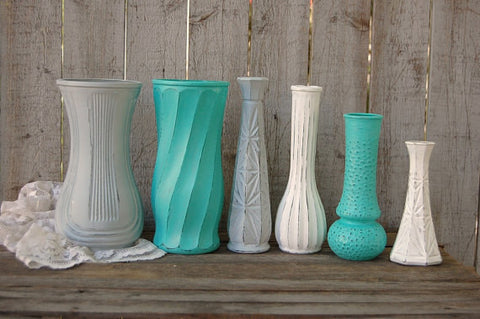 Aqua, grey & white vases - The Vintage Artistry