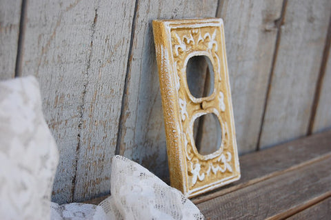 Gold double outlet cover - The Vintage Artistry