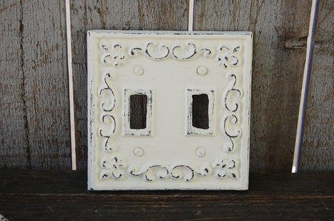 Distressed ivory double wall plate
