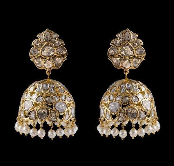 Nuvo Polki & Pearls Studded Big Jhumka