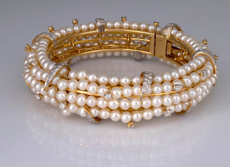 Fresh Water Pearls & Brilliant Diamond Studded Bangle