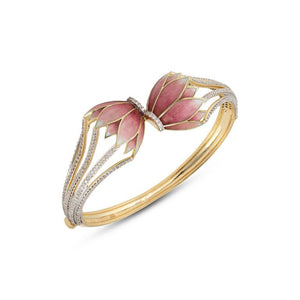 Lotus Kiss Bracelet With Pink Enamel.