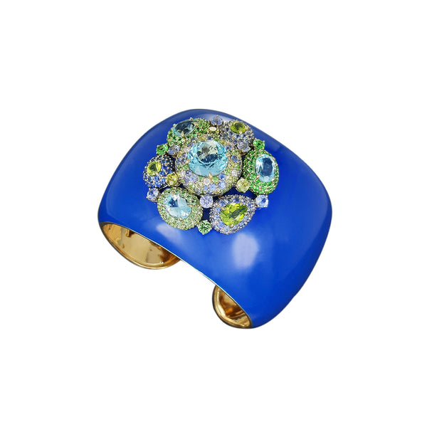 Blue Ceramic Enamel Cuff