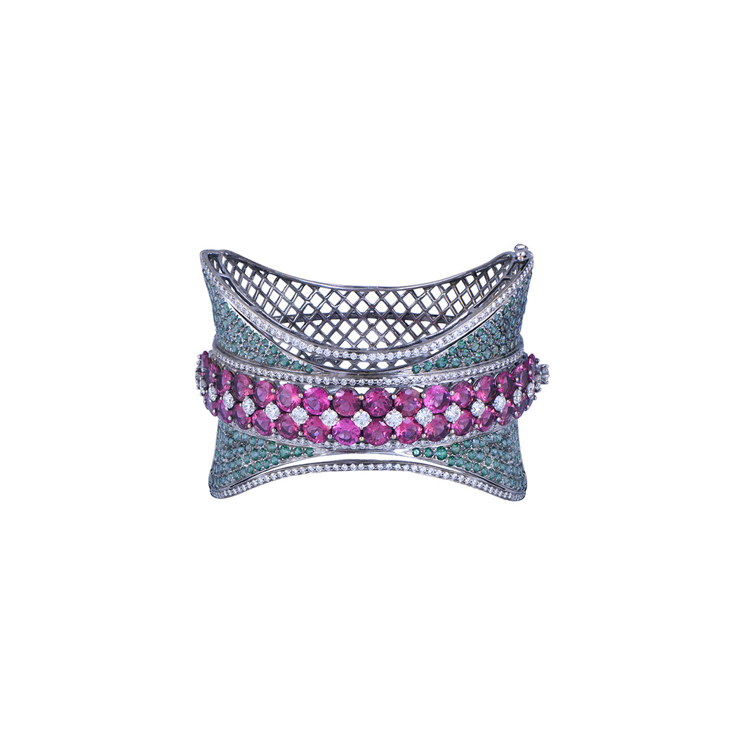 Sterling Diamond & Stones Studded Bracelet