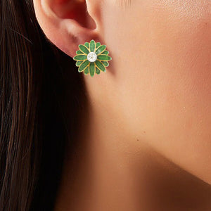 Sterling Diamond Stud with Green Enamel