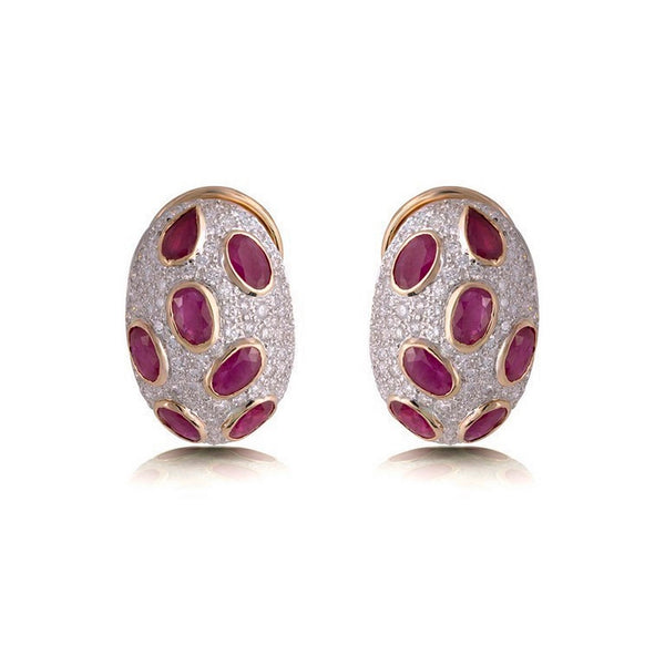 Diamond & Ruby Studded Earring in Yellow Gold
