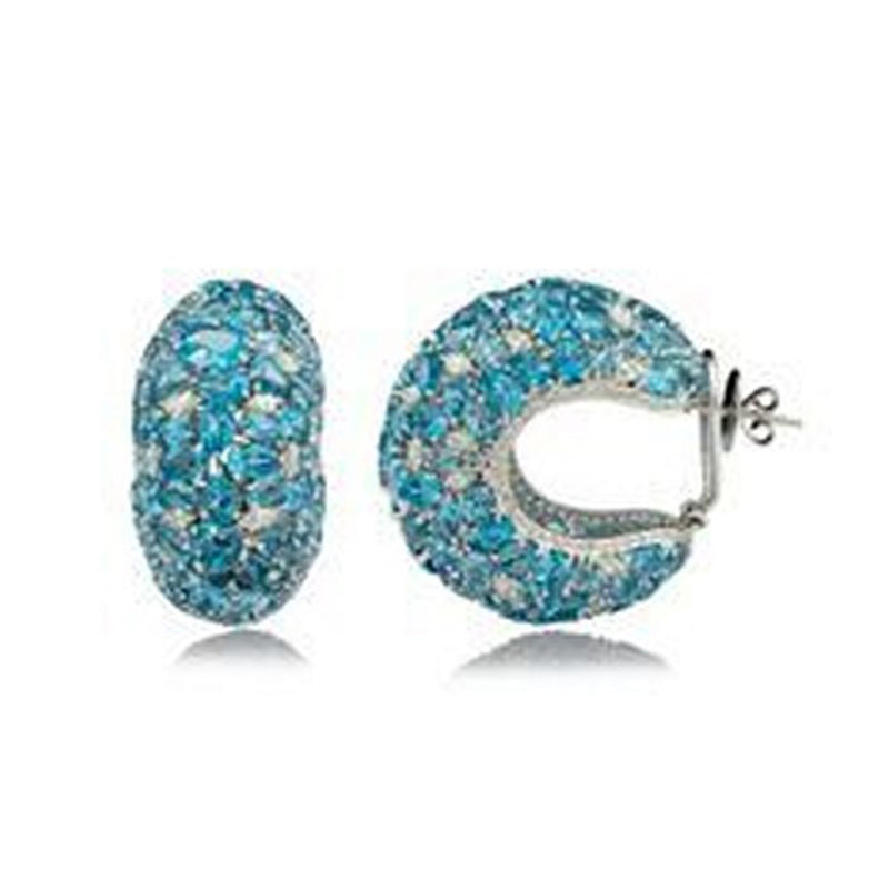 Blue Topaz & Brilliant Diamond Studded Huggies