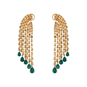 One Pair Of Diamond Dangler Earring With Studded Emerald Stone.