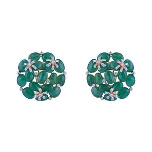 Diamond Studs With Studded Emerald Beads