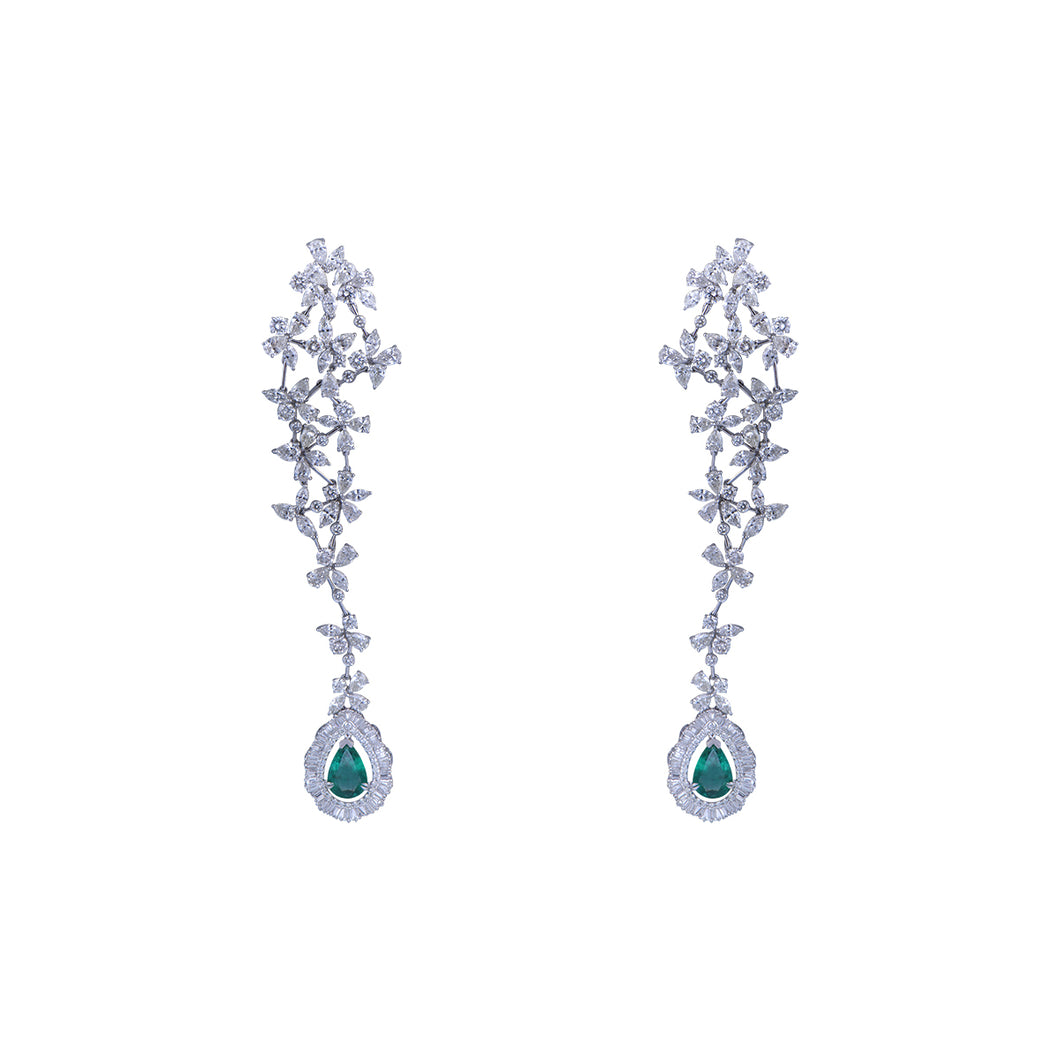 Pair Of Diamond Earring With Studded Emerald