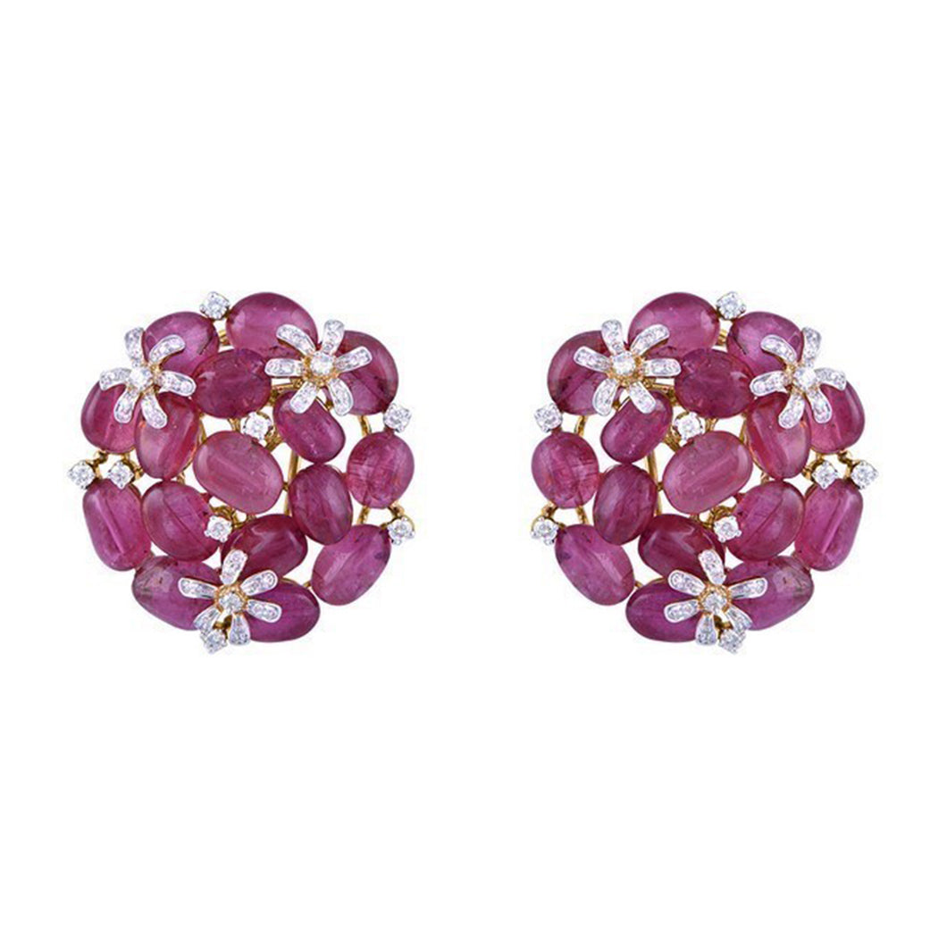 One Pair Of Diamond & Tourmaline Studded Earring.