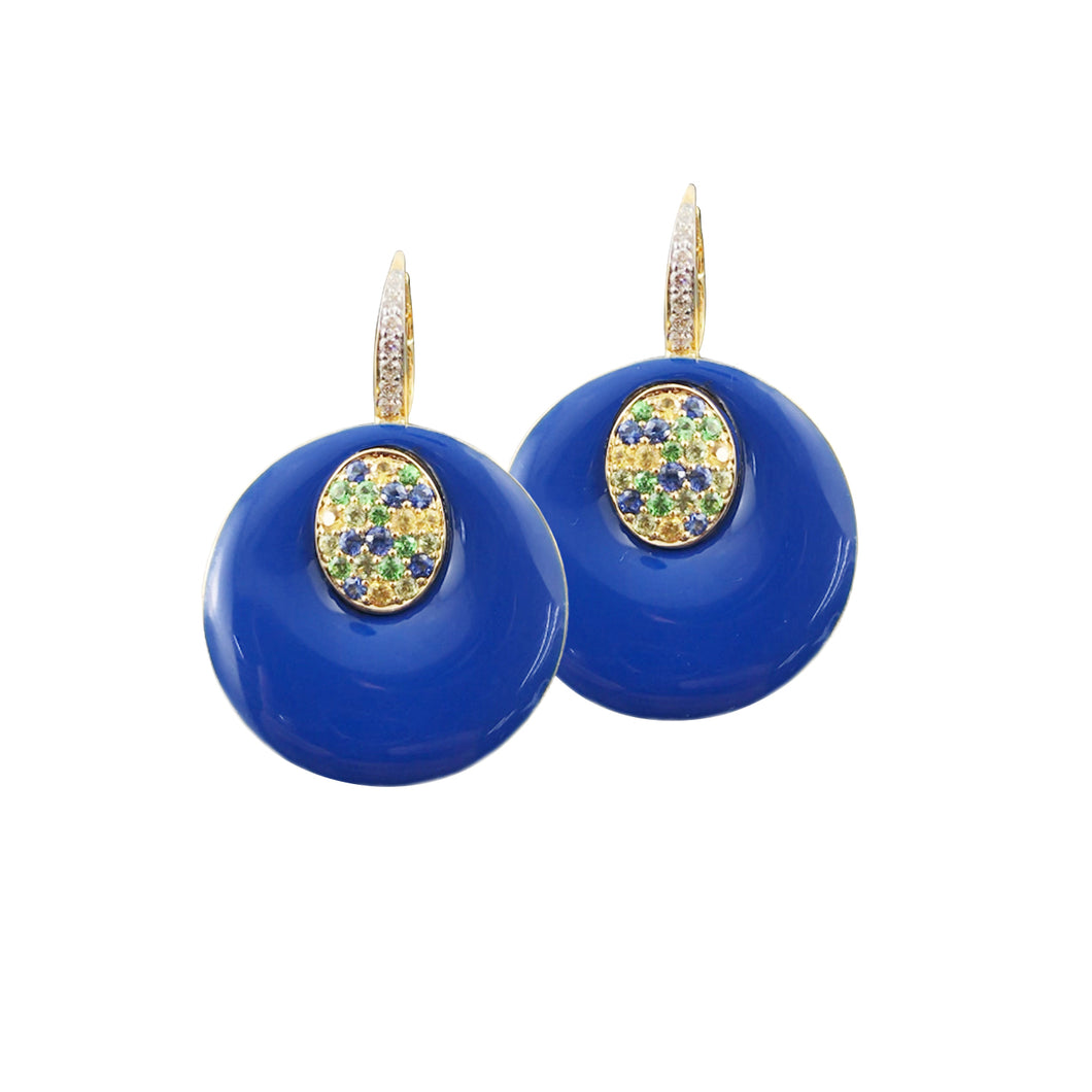 Blue Ceramic Enamel Earring
