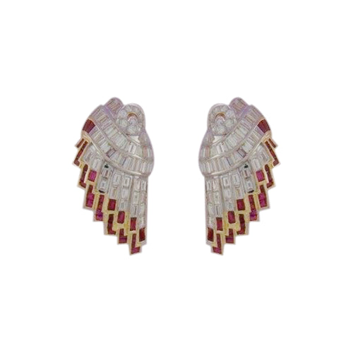 Diamond & Ruby Studded Stud Earring