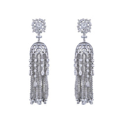 One Pair Of Diamond & Diamond beads Studded Jhumka