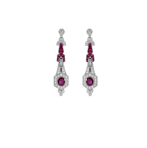 Dangling Diamond & Ruby Drop Earrings