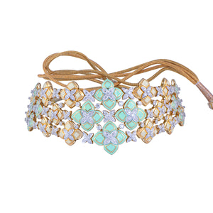 Diamond Studded Necklace With Green & Pastel Enamel