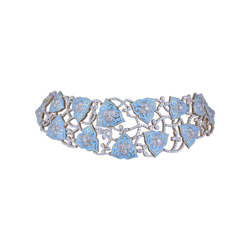 Diamond Necklace With Blue Meena