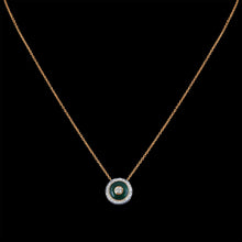 Grace Dazzling Diamond Necklace in Yellow Gold with Green Enamel