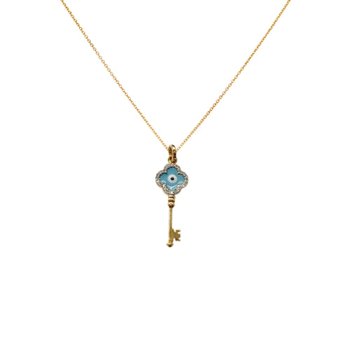 Turkish Eyes Key Pendant Studded Grace Diamond Necklace