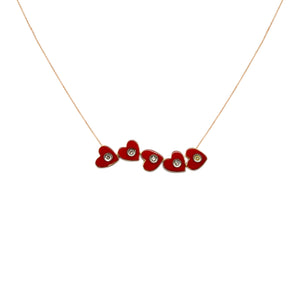 Red Heart Grace Dazzling Diamond Necklace